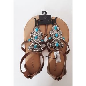 Torrid Sandals Torquoise Bling Size 11W NWT